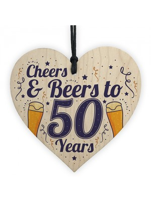 Cheers Beers 50th Birthday Novelty Gifts Men Wooden Heart Gift
