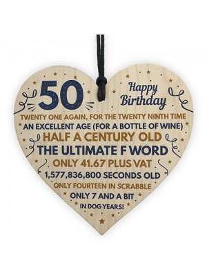 Funny 50th Birthday Gifts For Men Women Wooden Heart Decoration