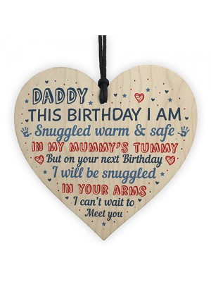 Daddy To Be Birthday Gift From Bump Wooden Heart Newborn Baby