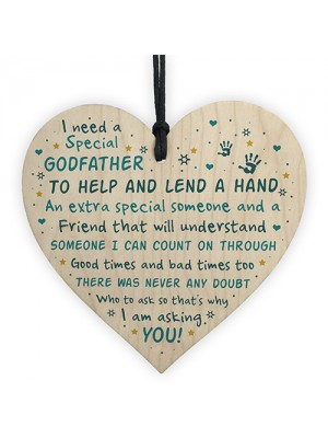 Godfather Asking Gift Wooden Heart Thank You Christening Gift