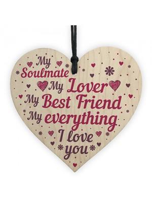 Soulmate Gifts Wood Heart Plaque Gift For Boyfriend Girlfriend