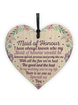 Will You Be My Maid Of Honour Wooden Heart Plaque Wedding Gifts