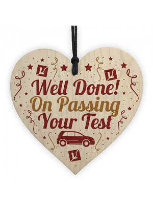 Passed Driving Test Learner New Driver Gift Wooden Heart Plaque