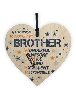 Funny Rude BROTHER Gift Wood Heart Plaque Novelty Birthday Gifts