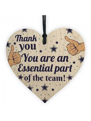 THANK YOU Gifts For Colleagues Employee Wooden Heart Plaque