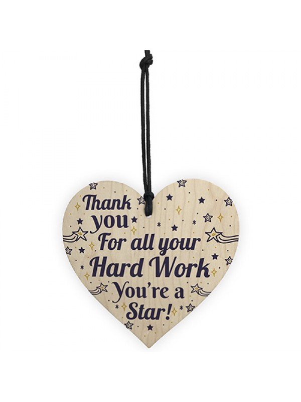 Colleague THANK YOU Gifts Wooden Heart Plaque Employee Teacher