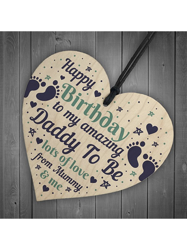 Daddy Gifts Wooden Heart Daddy To Be Birthday Cards From Bump