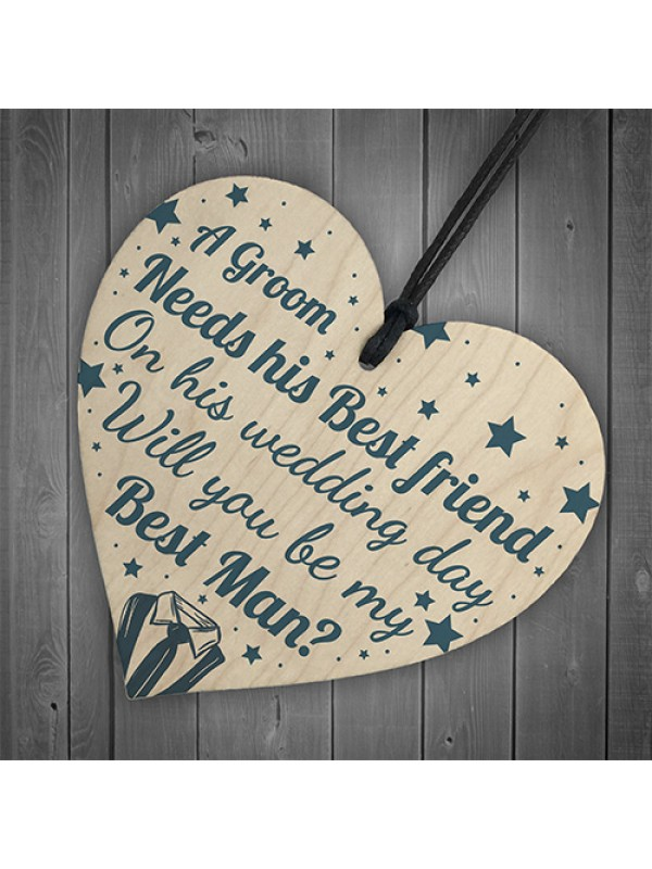 Best Friend Will You Be My Best Man Wood Heart Wedding Favours