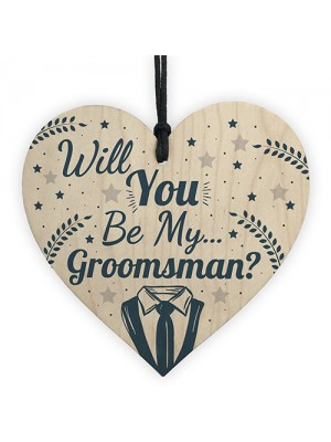 Will You Be My Groomsman Invite Wooden Heart Wedding Invite Gift