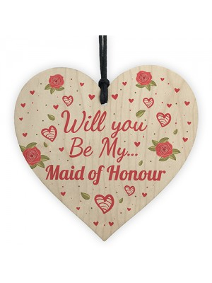 Will You Be My Maid Of Honour Wooden Heart Wedding Invitation