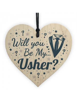 Will You Be My Usher Invite Wood Heart Wedding Invitation Gifts