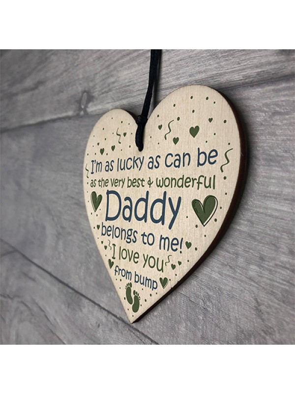 Daddy To Be Gifts Wooden Heart Fathers Day Gift From Bump Gifts