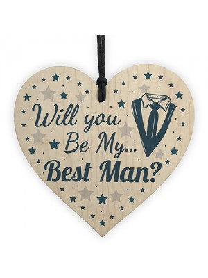 Will You Be My Best Man Invite Wood Heart Wedding Invitation