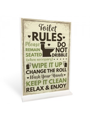 Toilet Sign Shabby Chic Standing Plaque Sign For Toilet Bathroom