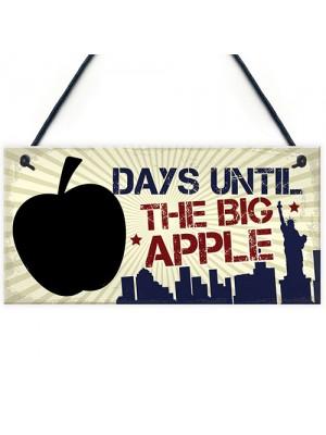 Chalkboard Holiday Countdown Days Until New York Big Apple Sign