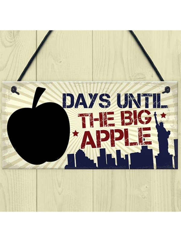 Chalkboard Holiday Countdown Days Until New York Big Apple Sign