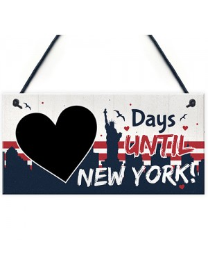 Chalkboard Days Until New York America Holiday Countdown Plaque