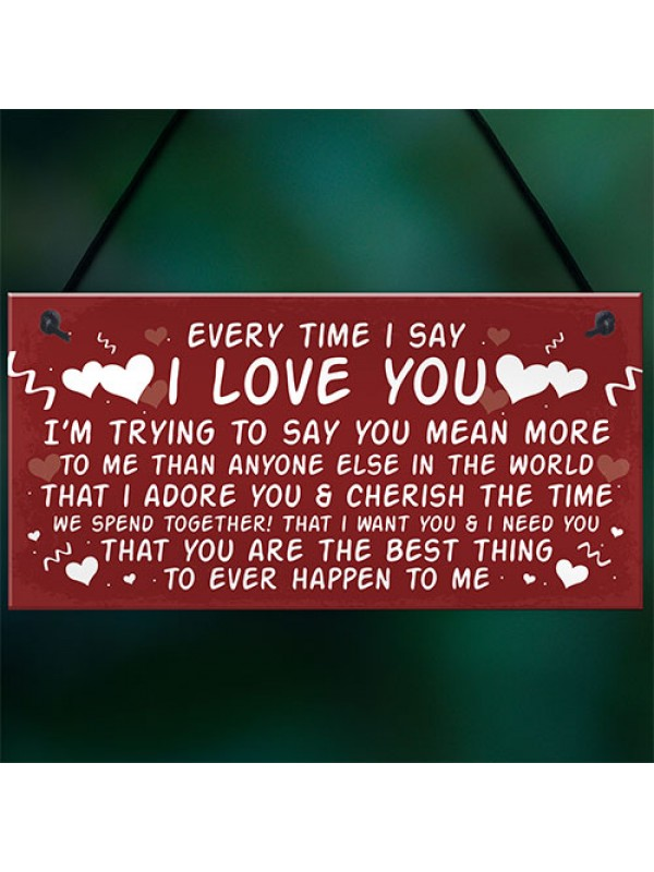 Love You Plaque Hanging Plaque Anniversary Valentines Day Gift