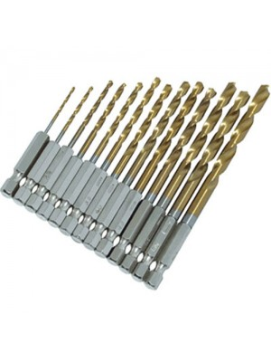 13Pc HSS Titanium Coated Drill Bit Set With 1/4inch Hex Shank