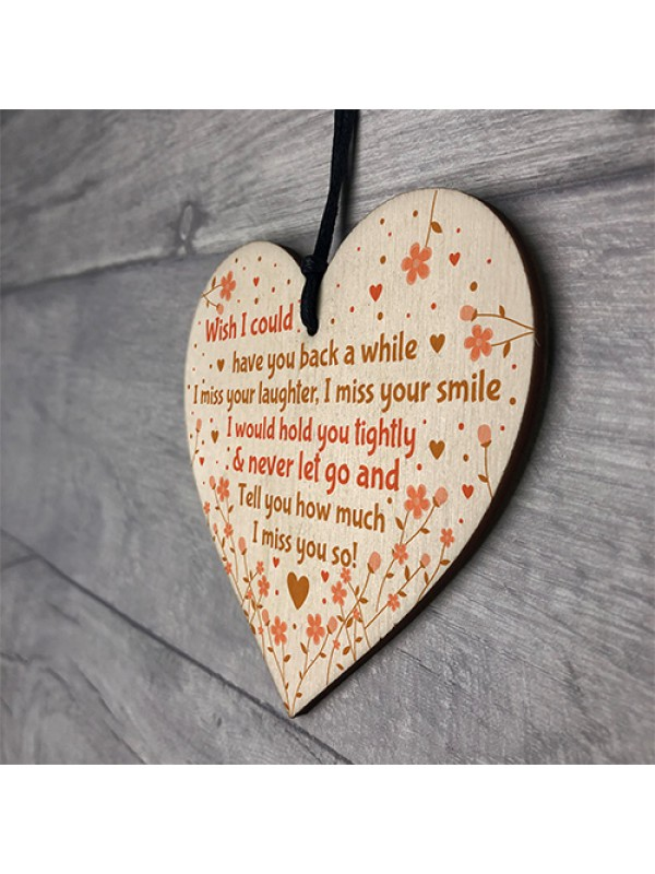 Mum Dad Nan Grandad Auntie Uncle Memorial Plaque Wooden Heart