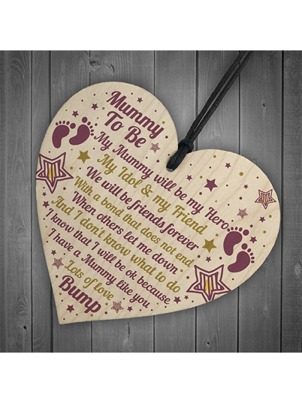 Best Mummy Gifts Wooden Heart Mummy To Be Card Baby Shower