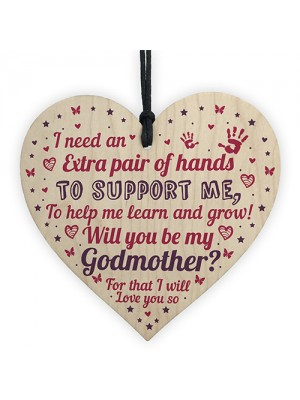 Will You Be My Godmother Wooden Heart Godparent Asking Gifts