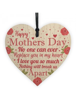 Happy Mothers Day Gift For Mum Mummy Wooden Heart Sign Gift