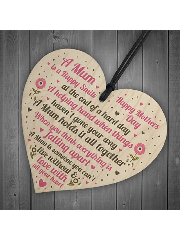 HAPPY Mothers Day Gift For Mum Wooden Heart Gifts For Her