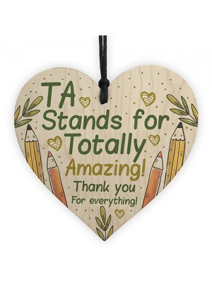 Thank You Gift For Teacher Teaching Assistant Wooden Heart Gifts