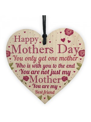 Mothers Day Wooden Heart Plaque Keepsake Mum Mummy Gift From Son