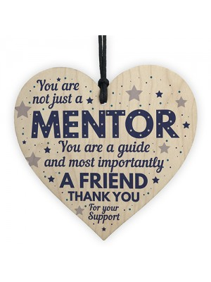 Mentor Thank You Wood Heart Plaque Gift For Teacher Coach Tutor