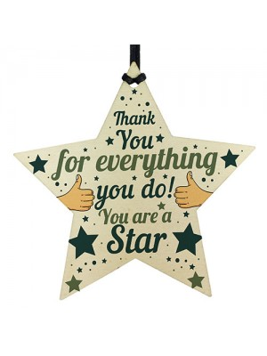 Wood Star Plaque Thank You Gift For Colleague Volunteer Teacher