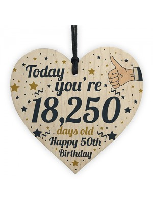 50th Birthday Present For Women Wooden Heart 50th Birthday Gift