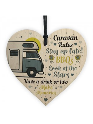 Caravan Rules Novelty Plaque Home Decor Retirement Friend Gifts