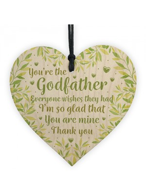 Godfather And Godmother Thank You Christening Gifts Wooden Heart