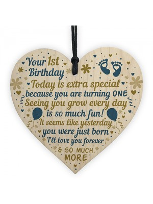 Baby's First 1st Birthday Gift For Baby Girl Boy Wooden Heart