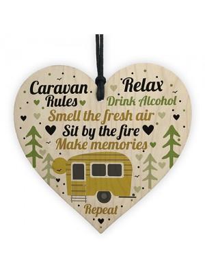 Caravan Rules Hanging Wooden Heart Plaque Caravan Accessories