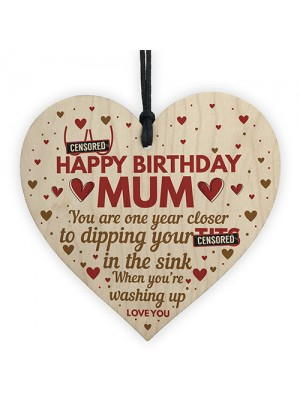 Funny Mum Birthday Gifts From Daughter Son Wooden Heart Gift