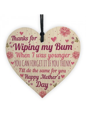 Novelty Mothers Day Gift From Daughter Son Funny Wood Heart