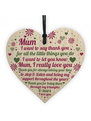 HAPPY MOTHERS DAY CARD Mothers Day Gift Wood Heart Thank You