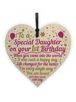 1st First Birthday Baby Girl Wood Heart Plaque Gift For Daughter