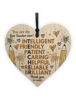 Teacher Thank You Gifts Wooden Heart Sign Gift For Teacher