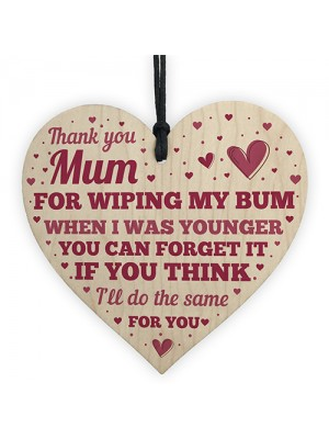 Funny Mum Mothers Day Birthday Gifts Wooden Heart Sign Gift