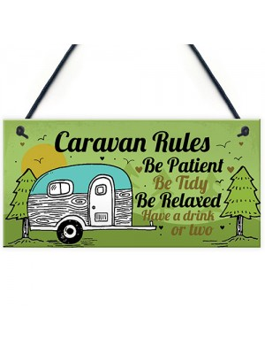 Caravan Rules Plaque Funny Novelty Garden Sign Birthday Gifts