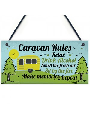 Funny Novelty Caravan Rules Hanging Wall Plaque Home Decor