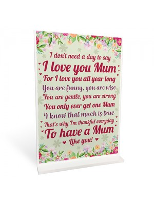 MOTHERS DAY GIFT Standing Plaque Birthday Gift For Mum Mummy
