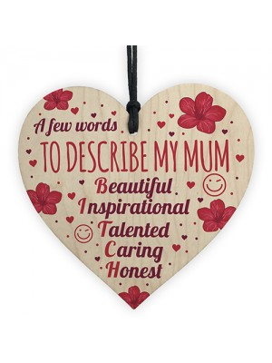 FUNNY Cute Mother's Day Gift Wooden Heart Birthday Mum Gifts