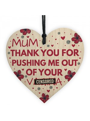 Rude Mum Gift For Birthday Mothers Day Wooden Heart Gifts