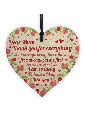 Mum Gift Mother's Day Gift Mother's Day Card Wooden Heart Sign