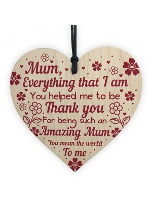 Thank You Mum Gift Mothers Day Gift Wooden Heart Mum Birthday